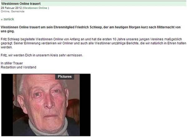 Westönnen Online trauert um Fritz Schleep