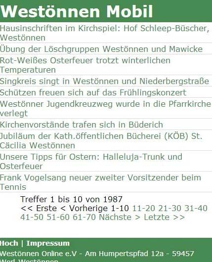 Westönnen Online gibts jetzt auch mobil - unter m.westoennen.de