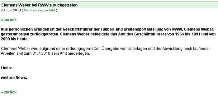 Völlig überraschend: Clemens Weber tritt aus persönlichen Gründen vom Amt des Geschäftsführers zurück.