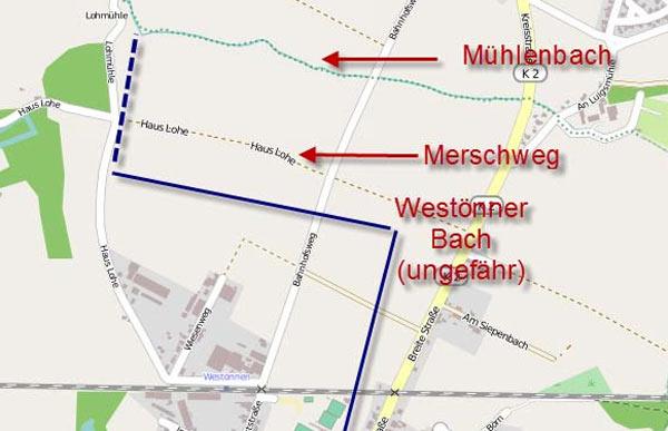 Planung: Auf insgesamt 400 Meter (geriffelte Linie im Bild) will die Stadt Werl den Westönner Bach auf die östliche Seite des Loher Weg legen.