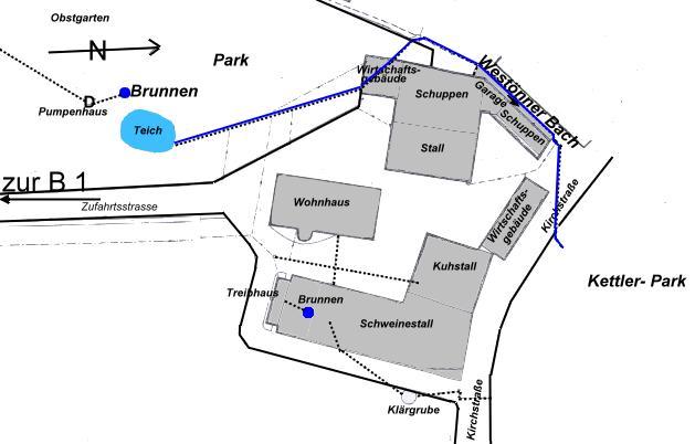 Dies ist ein Lageplan des Hofes Kerkhoff aus dem Jahre 1955 (digital aufbereitet).