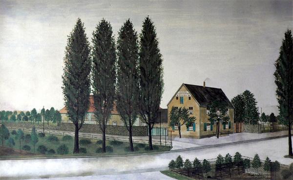 """Die Gaststätte Düperthal. Auch in diesem Bild zeigt sich, wie realistisch er seine Bilder malte. Vor dem Haus erkennen die alten Westönner noch die Schienen der alten Kleinbahn, hier fuhr früher """"Pengel Anton"""", Die Sitzecke vorm Eingang existiert noch.."""