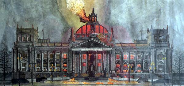Vermutlich ein Bild aus der Zeitung diente als Vorlage beim brennenden Reichstag.