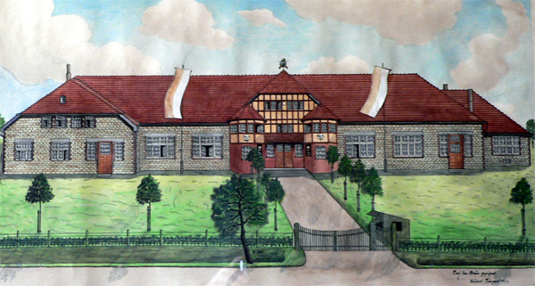 Die Schützenhalle 1927, dieses Bild hängt als Original im Speisesaal der Schützenhalle.
