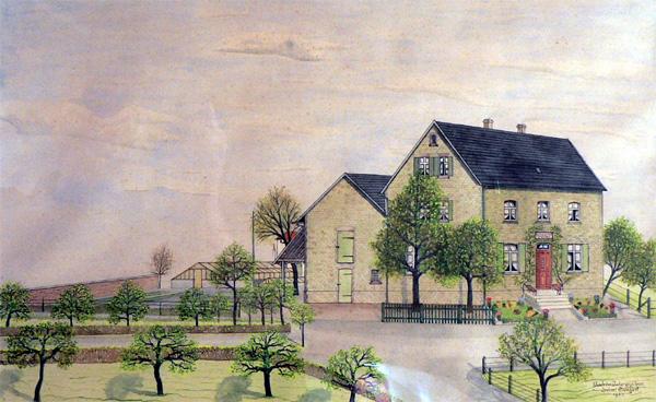 Dieses Bild zeigt die Gärtnerei Schulte-Weber. Die Straßenkreuzung war früher wirklich so winklig und auch die Linde stand mitten auf der Kreuzung, ebenso der Baum auf dem Hof der Gärtnerei. Selbst die Inschrift über dem Hauseingang wurde nicht vergessen.