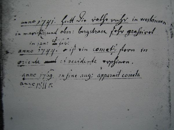 Notizen von Pfr. Plencker im Kirchenbuch