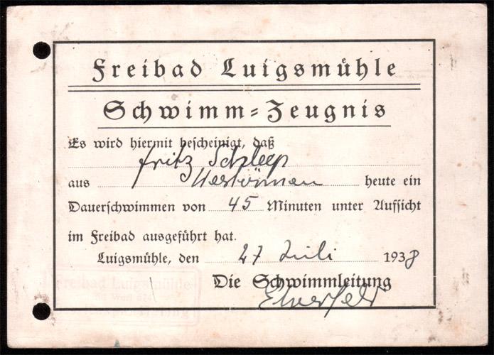 Das Fahrtenschwimmer-Zeugnis von 1938
