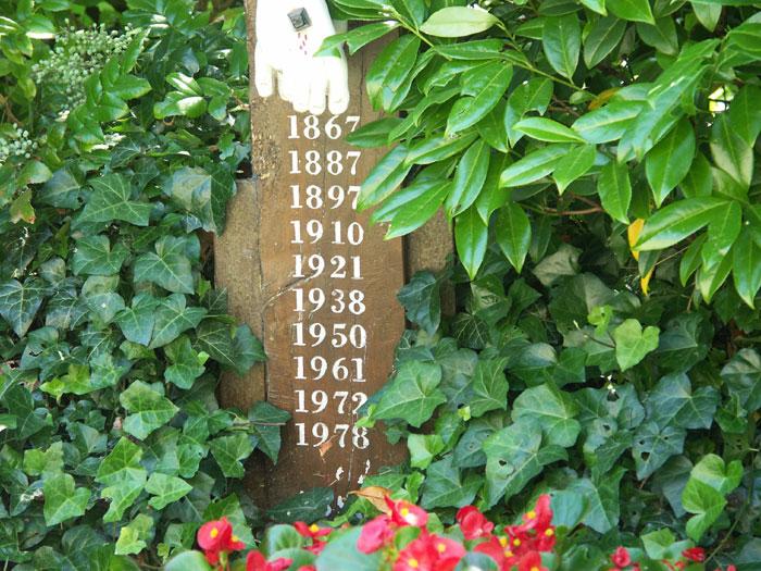 Die Jahreszahlen der Mission im Schaft des Kreuzes