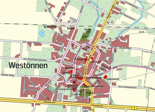 Westönnen Strassenplan