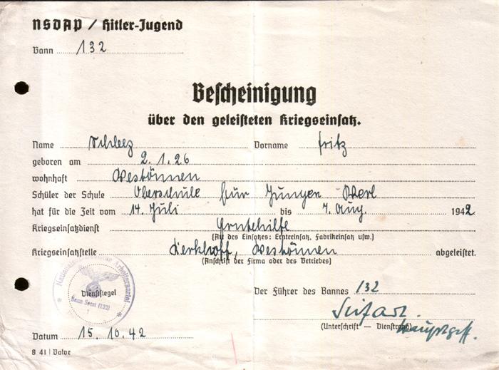 Bescheinigung 1942