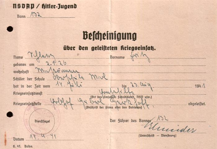 Bescheinigung 1941