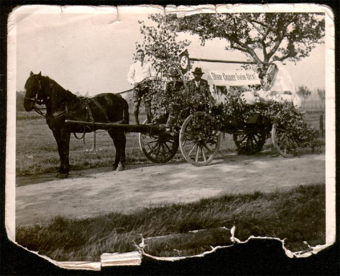 Der Festwagen mit einem Pferd