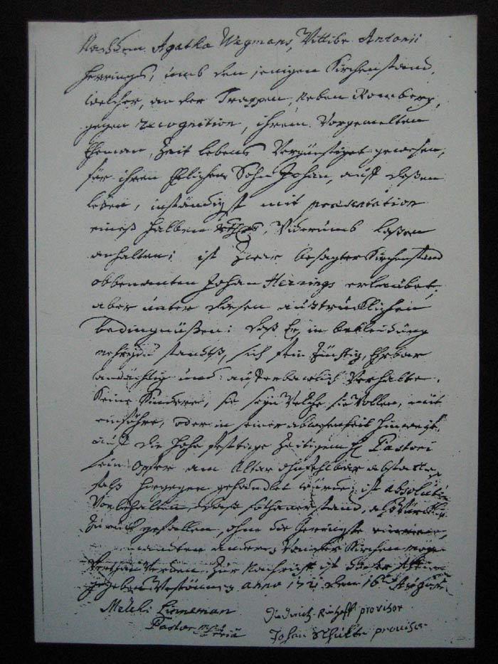 Urkunde vom 16. August 1721