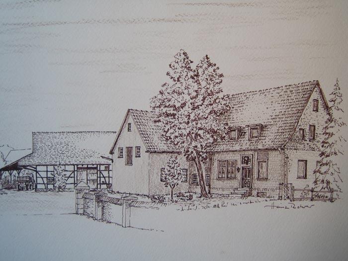 Hof Hennemann  (heute Linzbach), Zeichnung von Heinz Rohrer von  1991