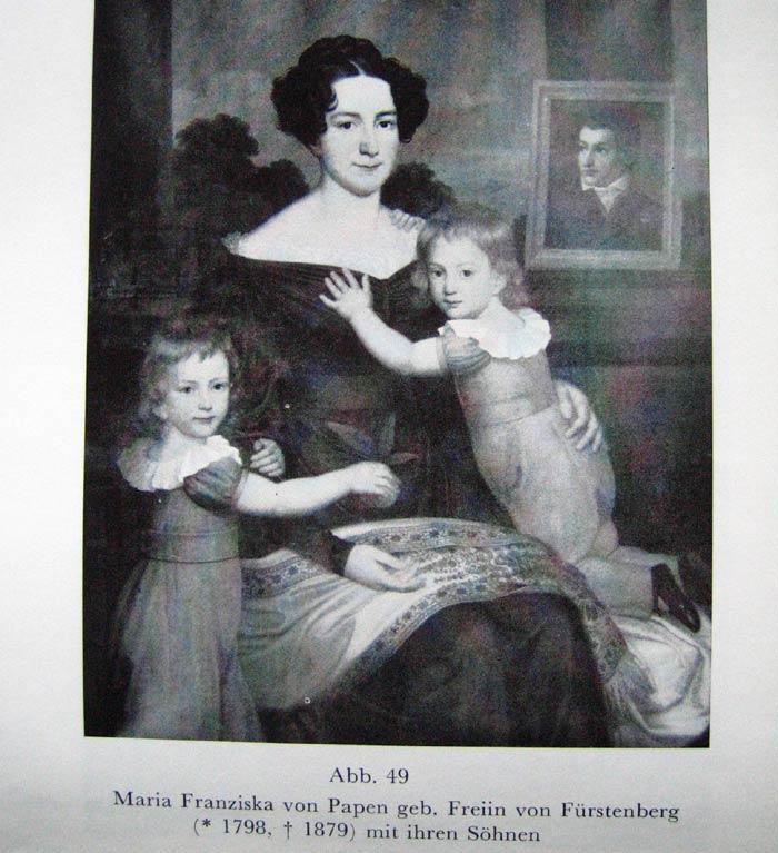 seine Frau (1798 - 1879)mit den Söhnen Friedrich Leopold u. Franz Egon