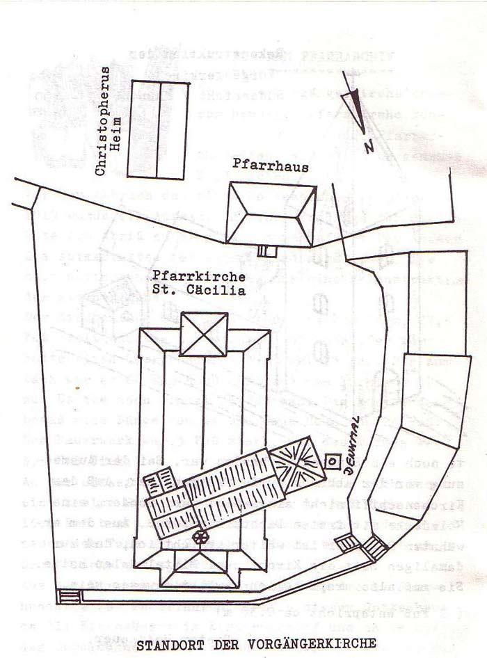 Skizze, Standort der Vorgängerkirche