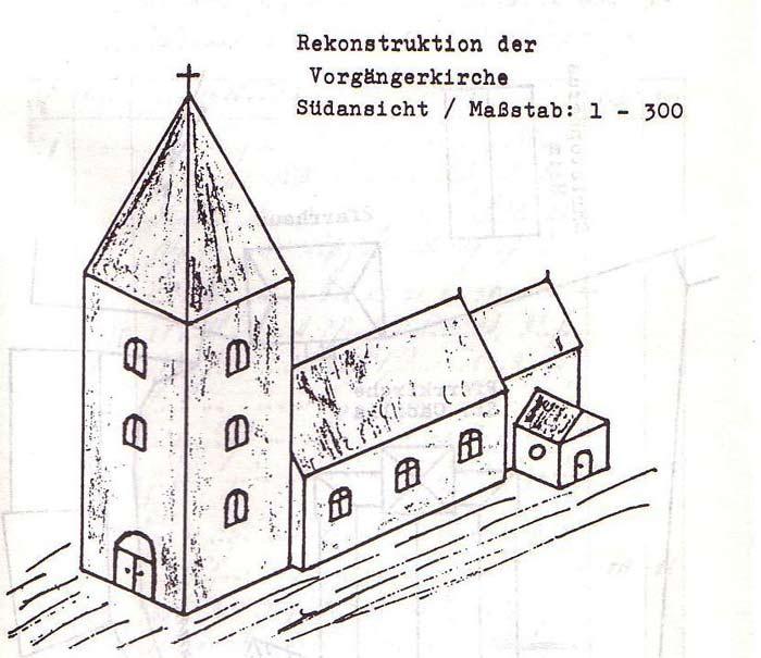 Rekonstruktion der Vorgängerkirche, Südansicht