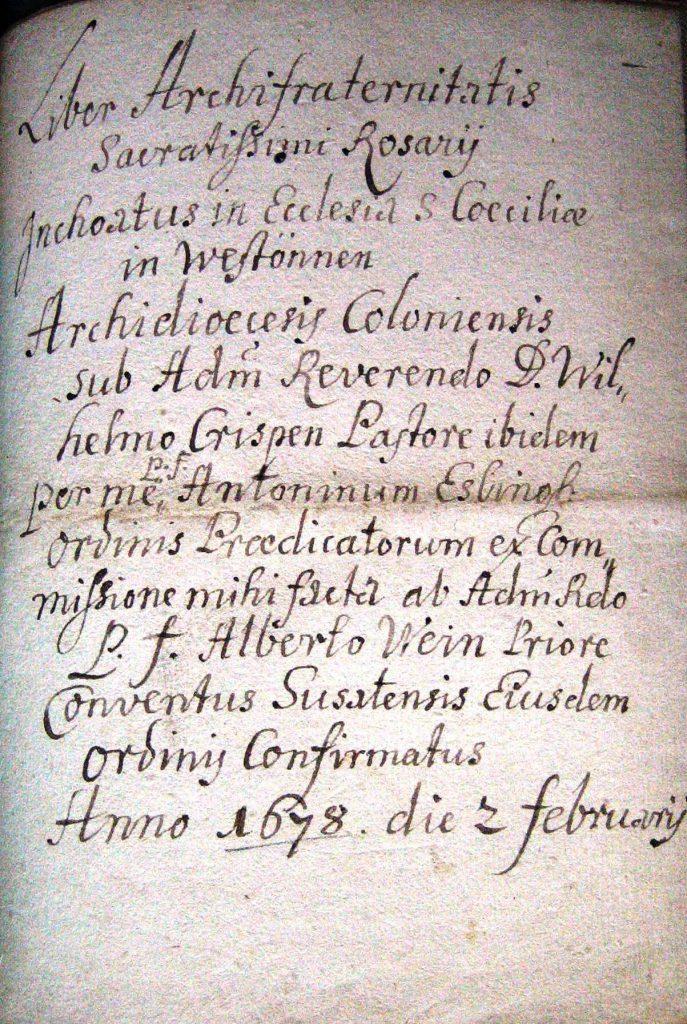Titelblatt der Rosenkranzbruderschaft von 1678