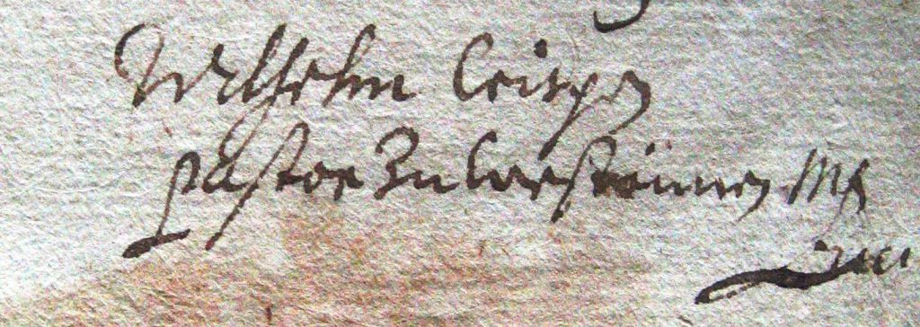 Unterschrift von Wilhelm Crispen vom 21.09.1680
