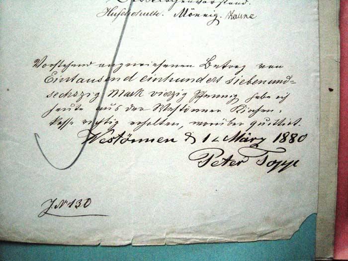Bild 1:  Quittung u. Unterschrift von Peter Topp