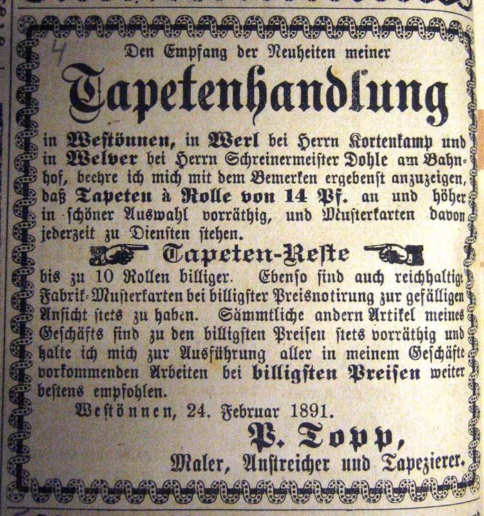 Bild 2:  Anzeige aus dem Centralen-Volksblatt