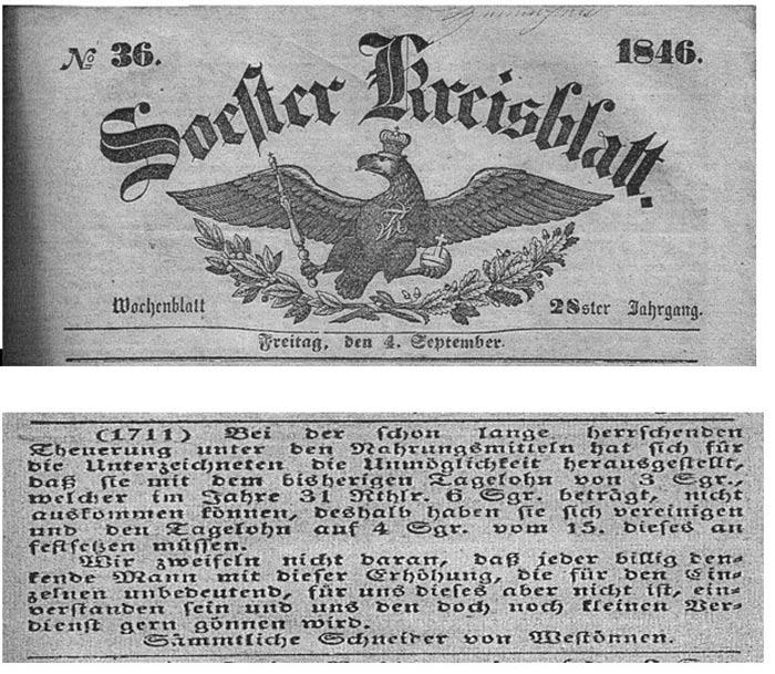 Soester Kreisblatt vom 4.9.1846