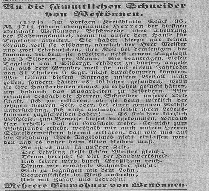 Soester Kreisblatt vom 11.9.1846