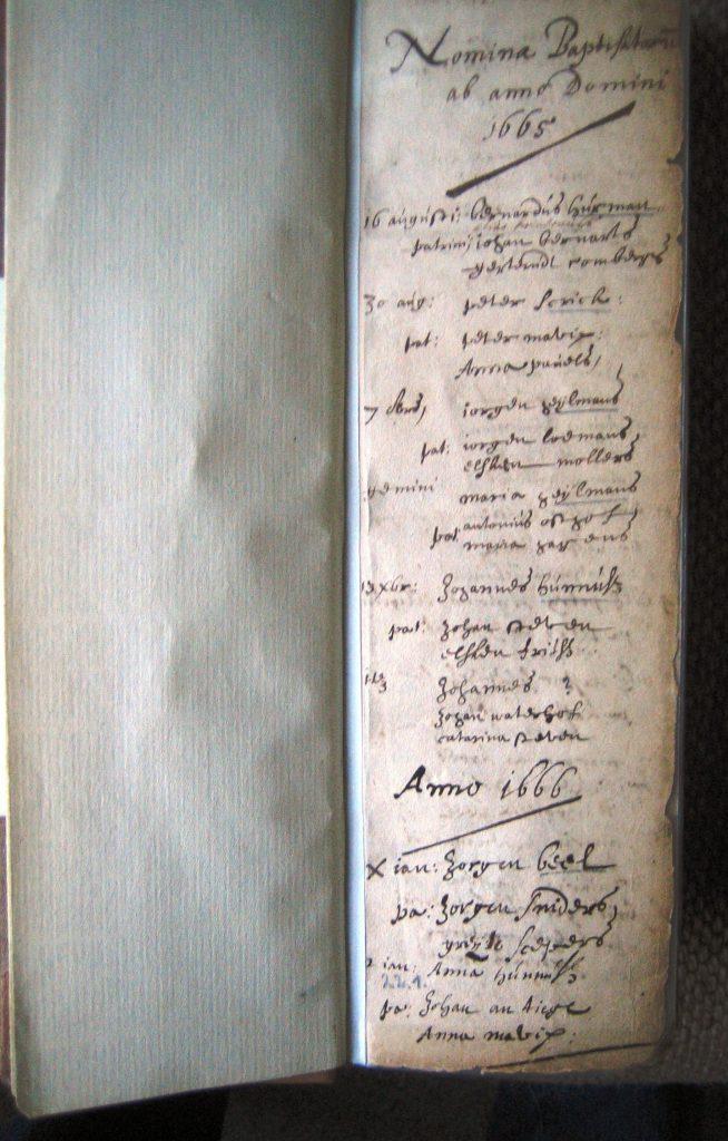 Die erste Eintragung von  1665