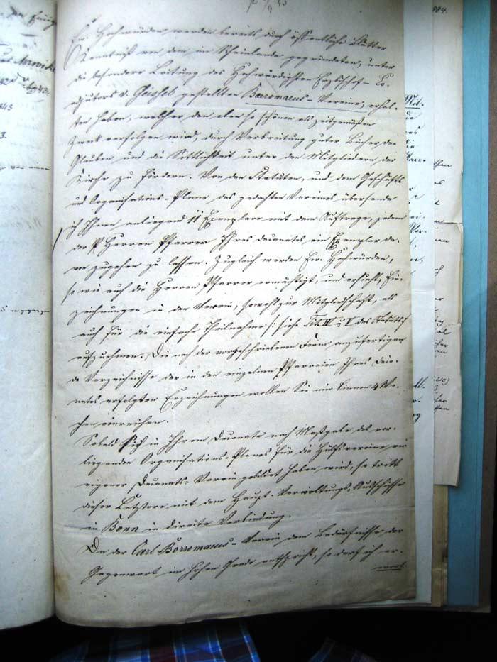 1. Seite des bischöflichen Schreibens von 1845 - Übersetzung siehe Bild 3