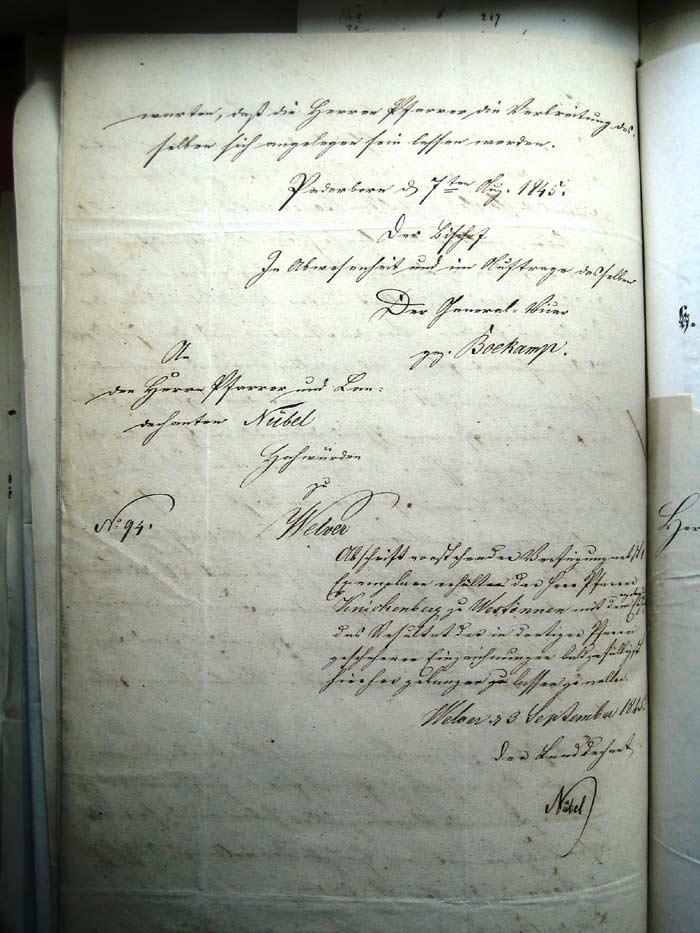2. Seite des bischöflichen Schreibens von 1845 - Übersetzung siehe Bild 3