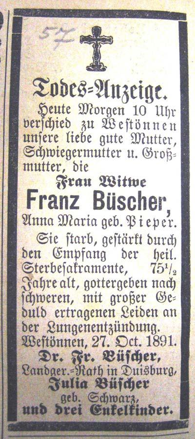 Todesanzeige der Witwe Büscher, geb. Anna Maria Pieper, von 1891