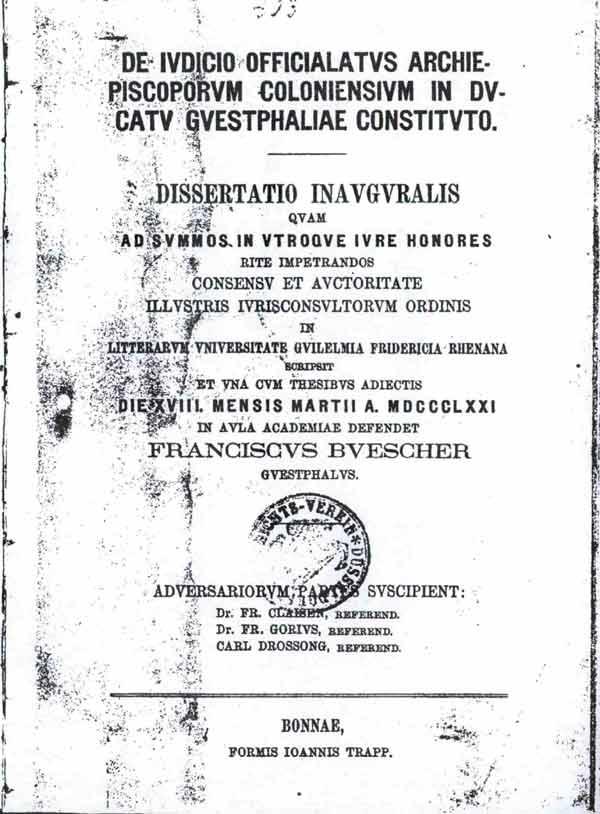 Titelblatt seiner Doktorarbeit v.1871, latein. gedruckt