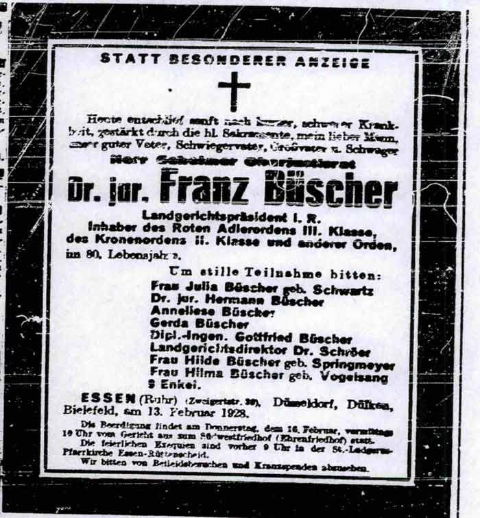 Todesanzeige v. 13.02.1928