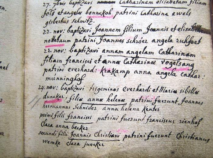 Kirchenbuch-Eintrag vom 24.11.1764
