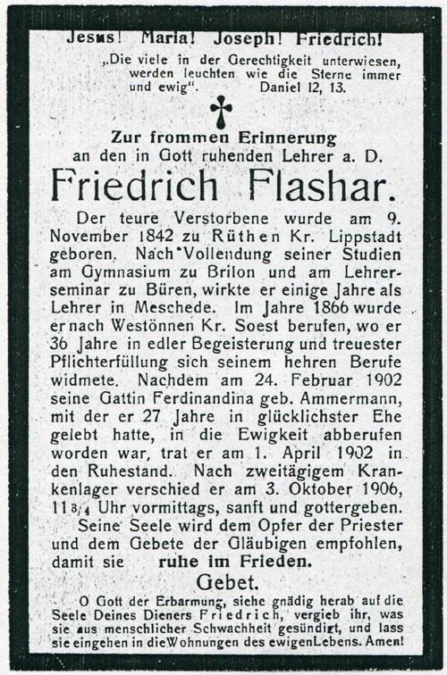 Totenzettel v. Friedrich Flashar (Quelle: Stadtarchiv Werl)