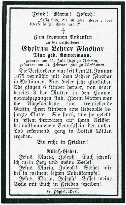 Totenzettel Frau Maria Fernandine Flashar (Quelle: Stadtarchiv Werl)