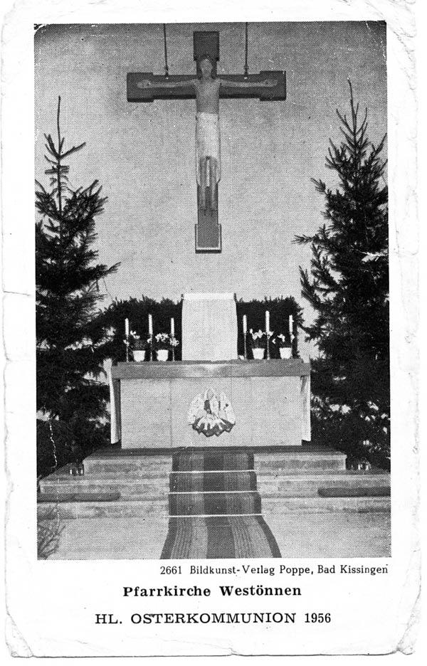 Foto 3 Kreuz Osterkommunionzettel 1956