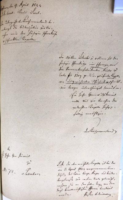 Brief an das Generalvikariat, 9. April 1844