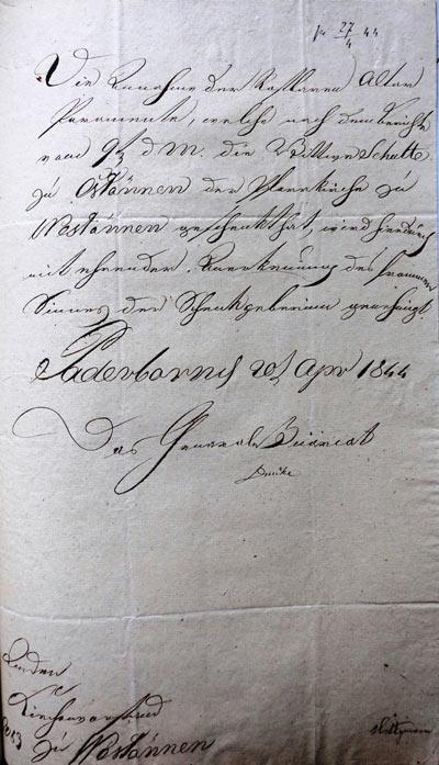 Brief vom Generalvikariat,  20. April 1844