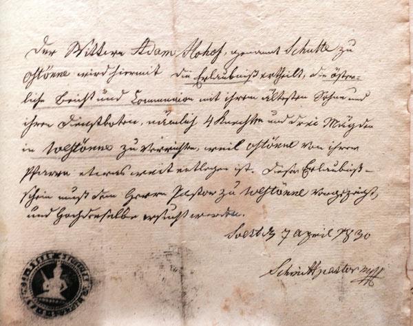 Antwort des Soesters Pastor, 7. April 1830