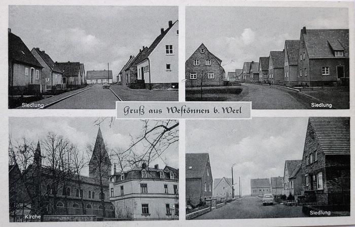 Postkarte mit Straßenzügen der Siedlung
