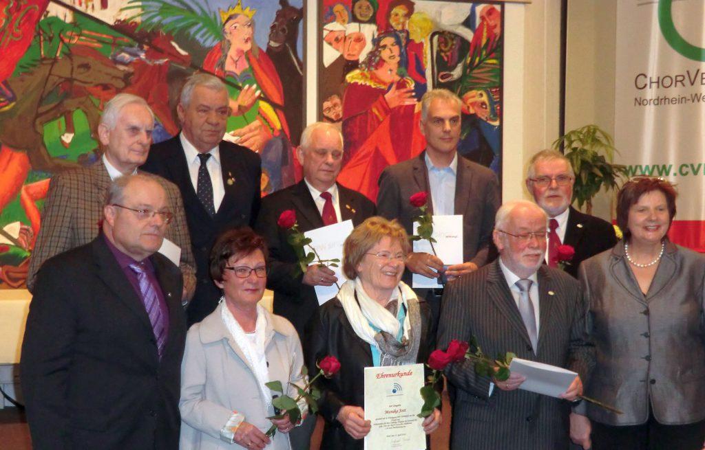 Hubert Körner, 2.Reihe vo. links, geehrt für 50 Jahre 1. Schriftführer.