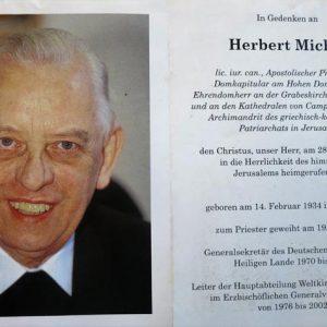 Totenzettel von Prälat Michel / Foto: Familie Vogelsang