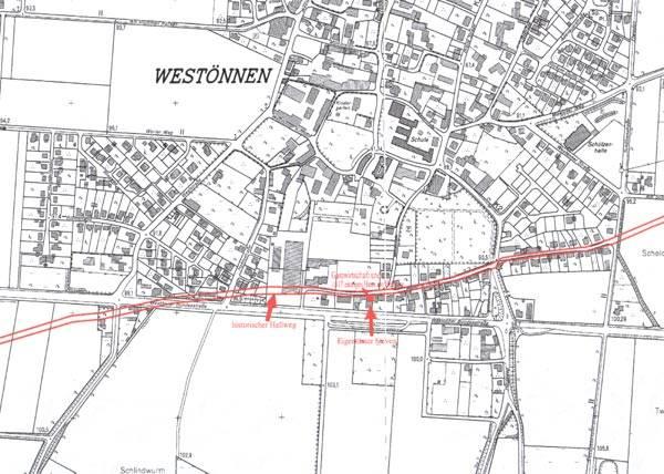 Der alte Hellweg in den neuen Siedlungsbestand eingefügt.Die Skizze stammt vom Landesvermessungsamt NRW aus dem Jahre 2001.