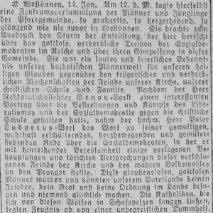 Westfälischer Volksfreund am 14.1.1919 (1 von 3) - Zentrumspartei
