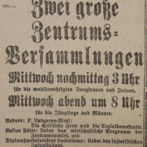 Westfälischer Volksfreund am 16.1.1919