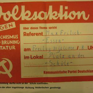 Plakat der KPD im Wahlkampf - Quelle Werler Stadtarchiv