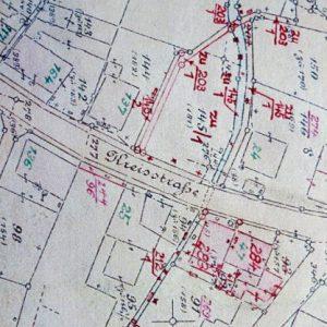 Katasterplan der Häuser um 1909