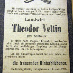 Vor 100 Jahren – Theodor Veltin gnt. Söbbeler verstorben