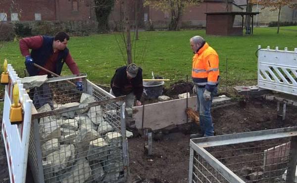 Der Ketteler-Park erhält eine neue Grünsandsteinbrücke